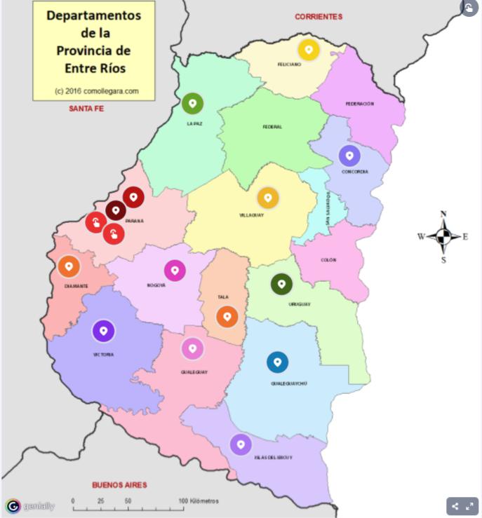 Mapa interactivo de la provincia de Entre Rïos.